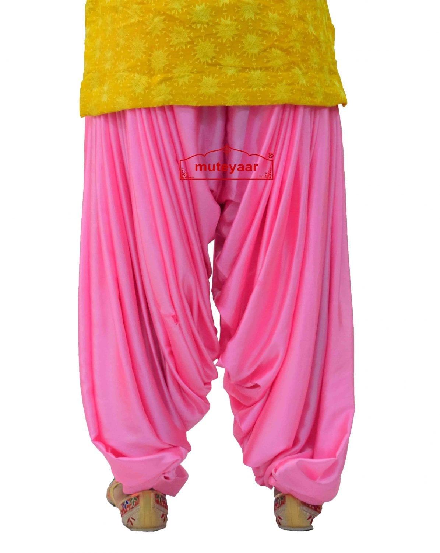 Pink Satin Silk Maharani Patiala Salwar - Custom Stitched 3