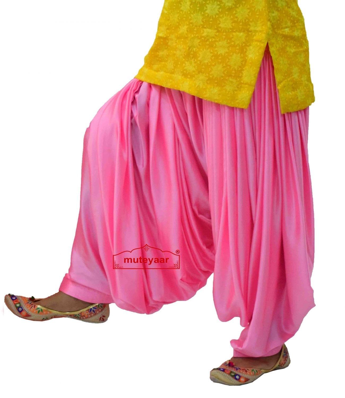 Pink Satin Silk Maharani Patiala Salwar - Custom Stitched 4