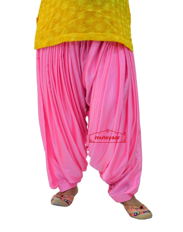 Pink Satin Silk Maharani Patiala Salwar - Custom Stitched 5