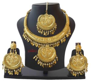 Hasli Pendant Set with Earrings Tikka Punjabi Jwellery J0475