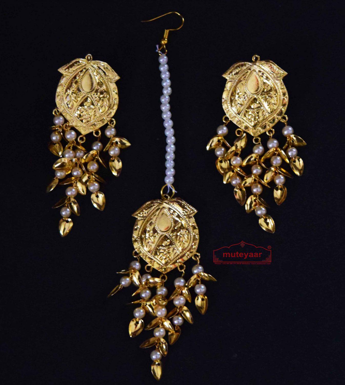 Gold Polished Punjabi Earrings Tikka set with white moti beads J0485 1