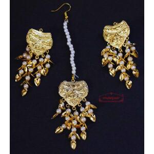 Gold Polished Punjabi Earrings Tikka set with white moti beads J0486