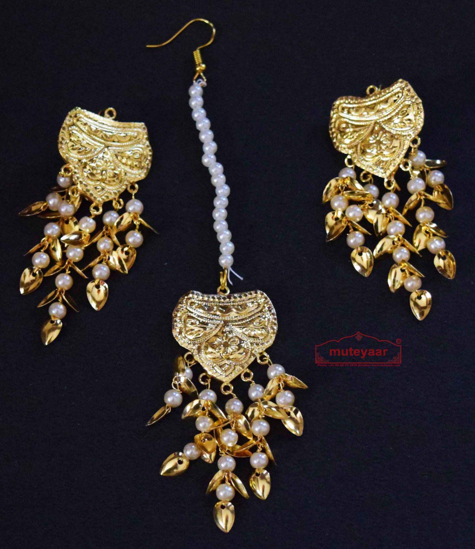 Gold Polished Punjabi Earrings Tikka set with white moti beads J0486 1