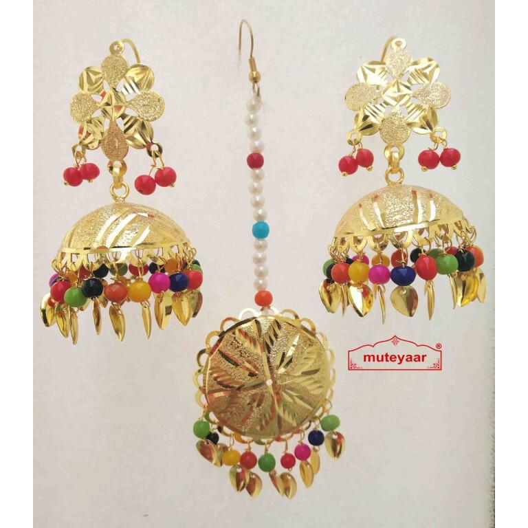 Gold Polished Punjabi Earrings Tikka set with multicolour moti beads J0476