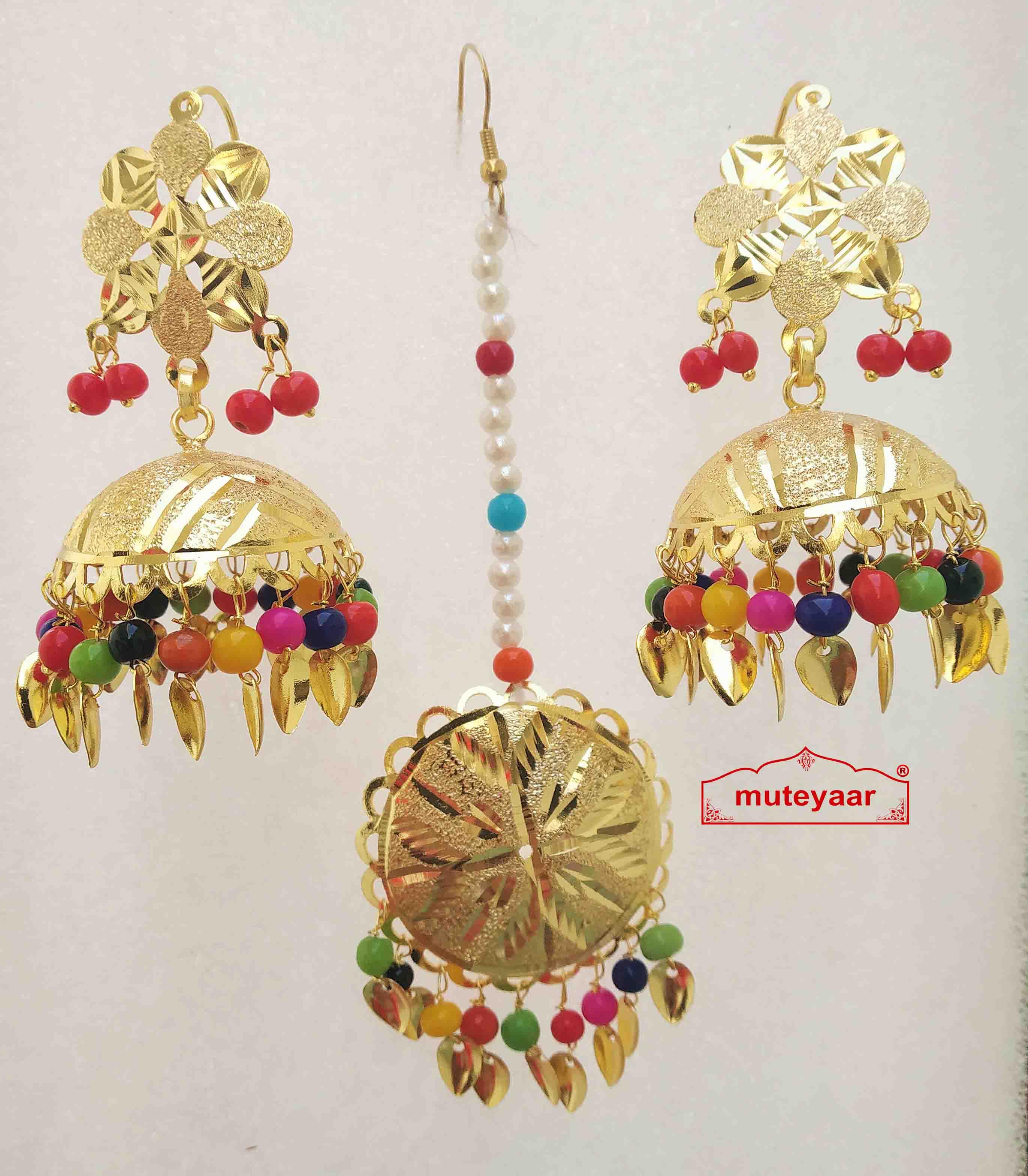 Gold Polished Punjabi Earrings Tikka set with multicolour moti beads J0476 1