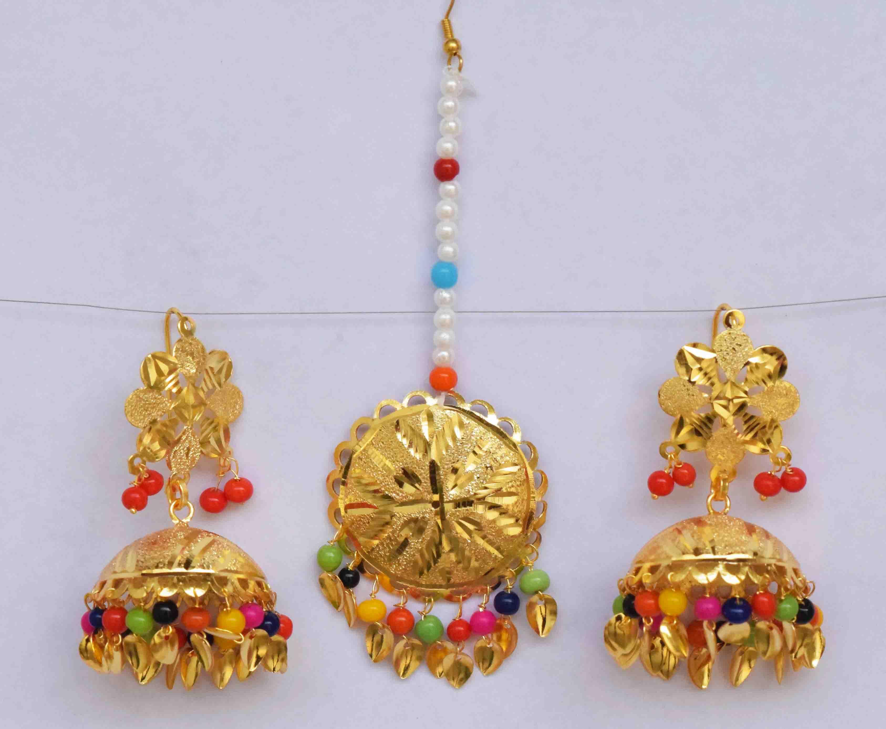 Gold Polished Punjabi Earrings Tikka set with multicolour moti beads J0476 2