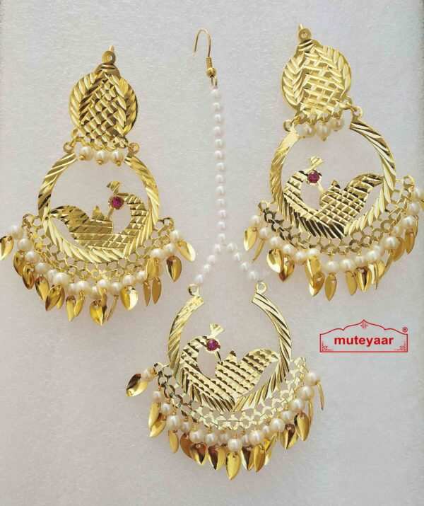 Cut Work Gold Polished Punjabi Earrings Tikka set J0477