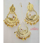 Cut Work Gold Polished Punjabi Earrings Tikka set J0477