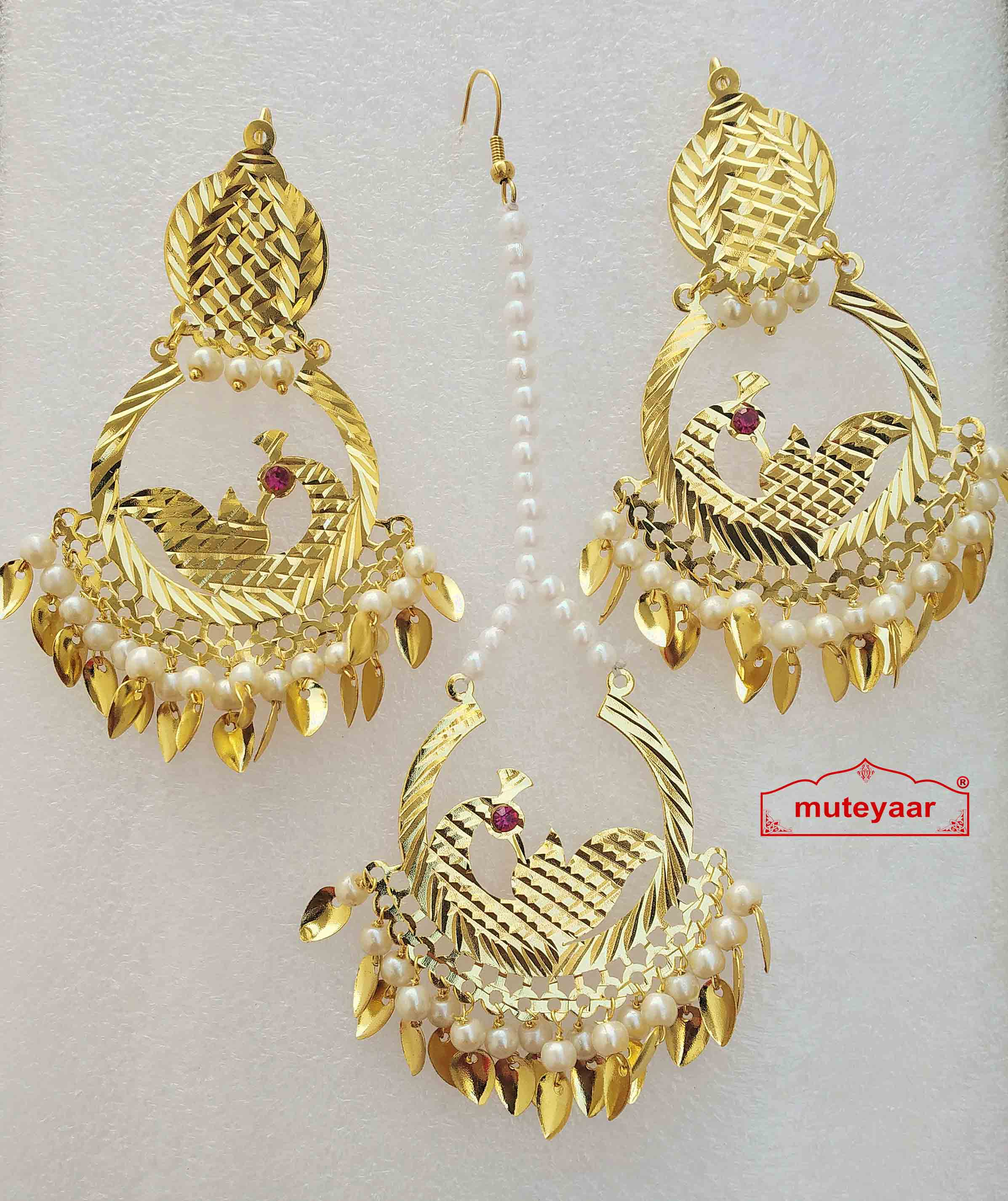 Cut Work Gold Polished Punjabi Earrings Tikka set J0477 1