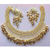 Jaali Necklace With Kundan Earrings Patti Moti jewellery set J0478