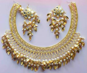 Jaali Necklace With Kundan Earrings Patti Moti jewellery set J0478