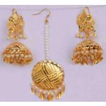 Gold Polished Punjabi Earrings Tikka set with white moti beads J0480