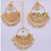 Gold Polished Punjabi Earrings Tikka set with white moti beads J0481