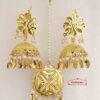 Gold Polished Punjabi Earrings Tikka set with white moti / patta J0482