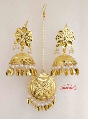 Gold Polished Punjabi Earrings Tikka set with white moti / patta J0482