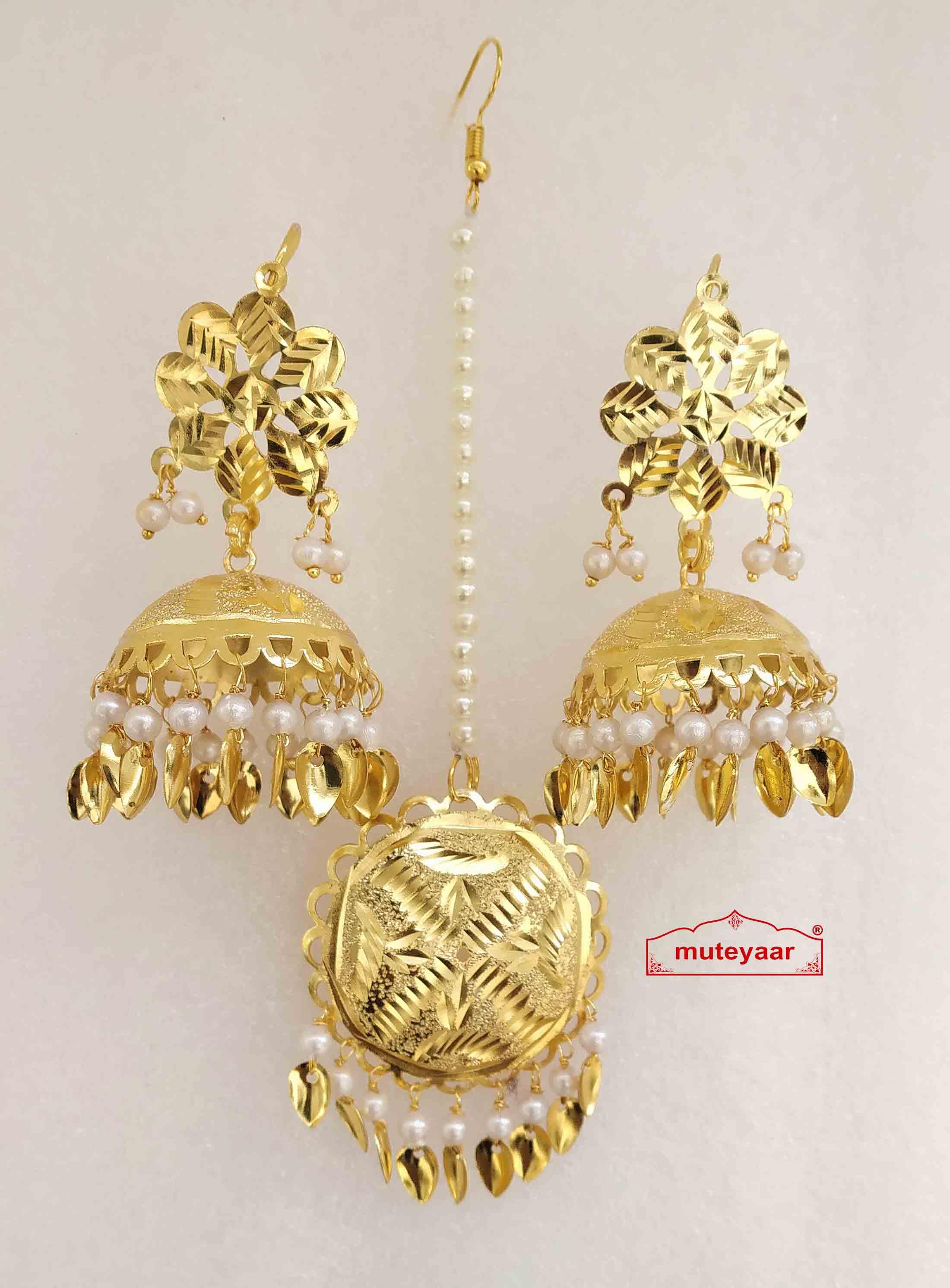 Gold Polished Punjabi Earrings Tikka set with white moti / patta J0482 1