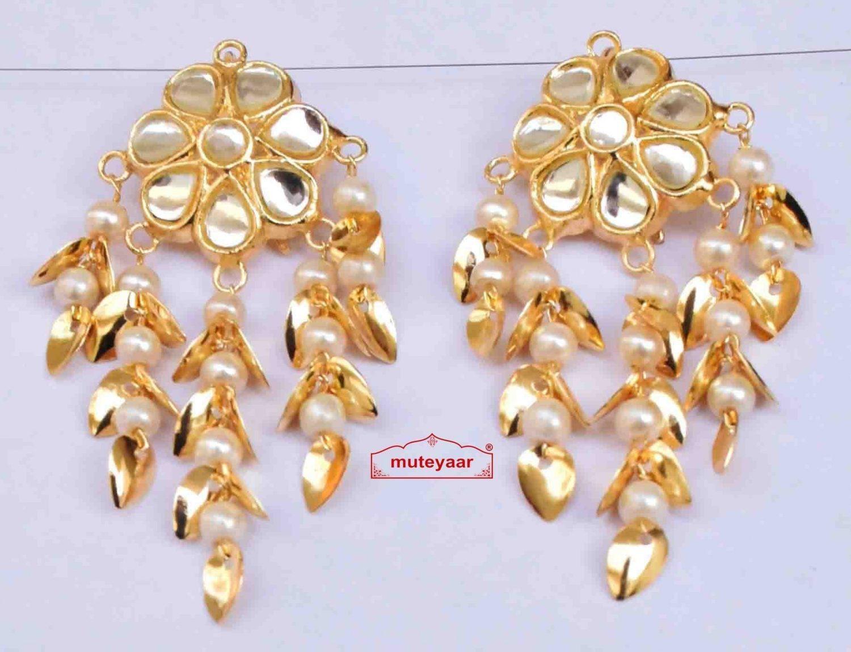 Kundan Earrings Gold Polished Traditional Punjabi Jhumki J0483 1