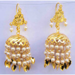 White Beads Gold Polished Traditional Punjabi Jhumki J0484