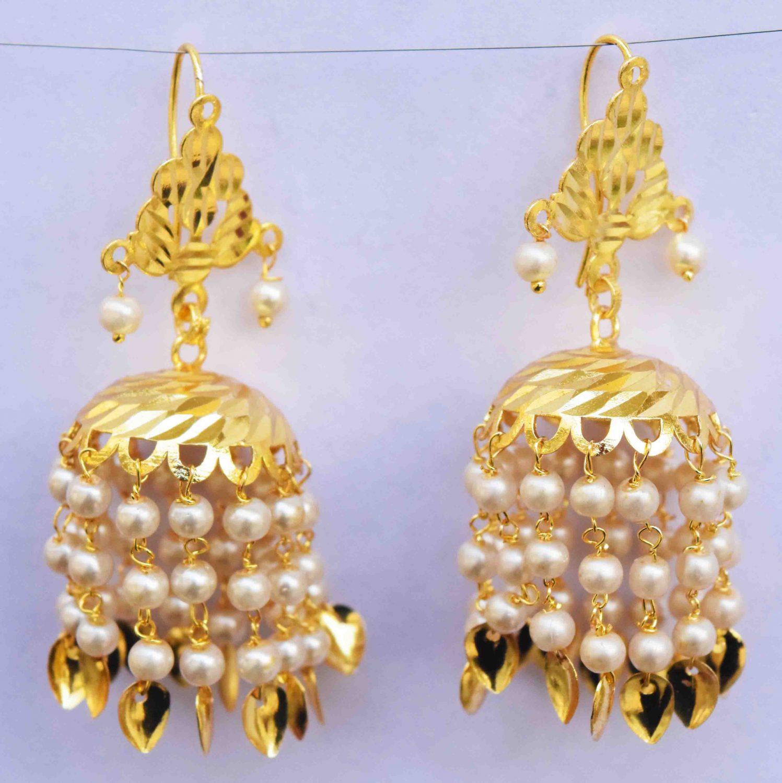White Beads Gold Polished Traditional Punjabi Jhumki J0484 1