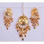 Gold Polished Punjabi Earrings Tikka set with white moti beads J0487