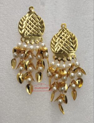 Gold Polished Traditional Punjabi Jhumki with patiyaan & moti J0489