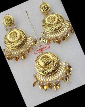 Gold Polished Punjabi Earrings Tikka set J0490