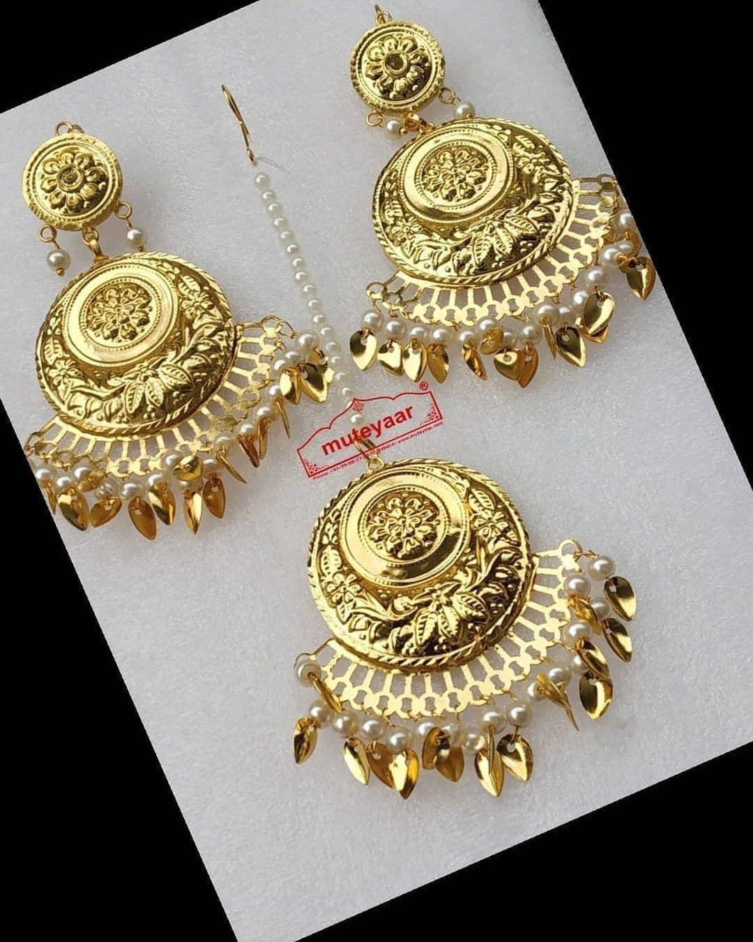 Gold Polished Punjabi Earrings Tikka set J0490 1