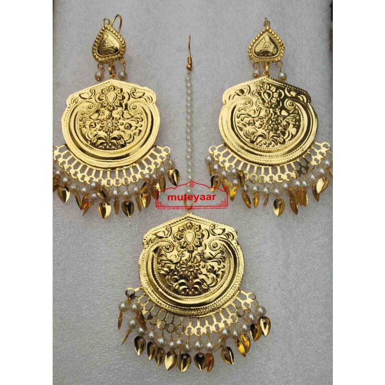 Gold Polished Punjabi Earrings Tikka set J0491
