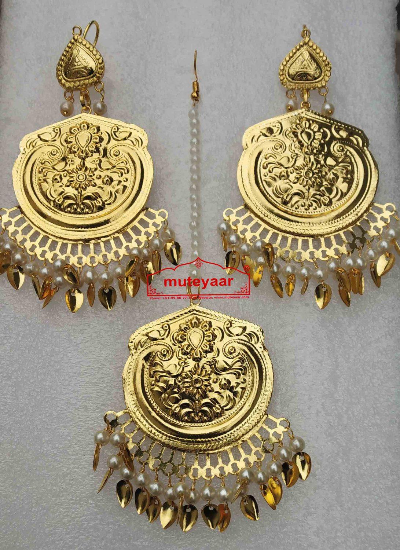 Gold Polished Punjabi Earrings Tikka set J0491 1