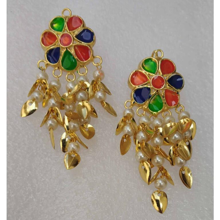 Multicolour Kundan Earrings Gold Polished Punjabi Jhumki J0493