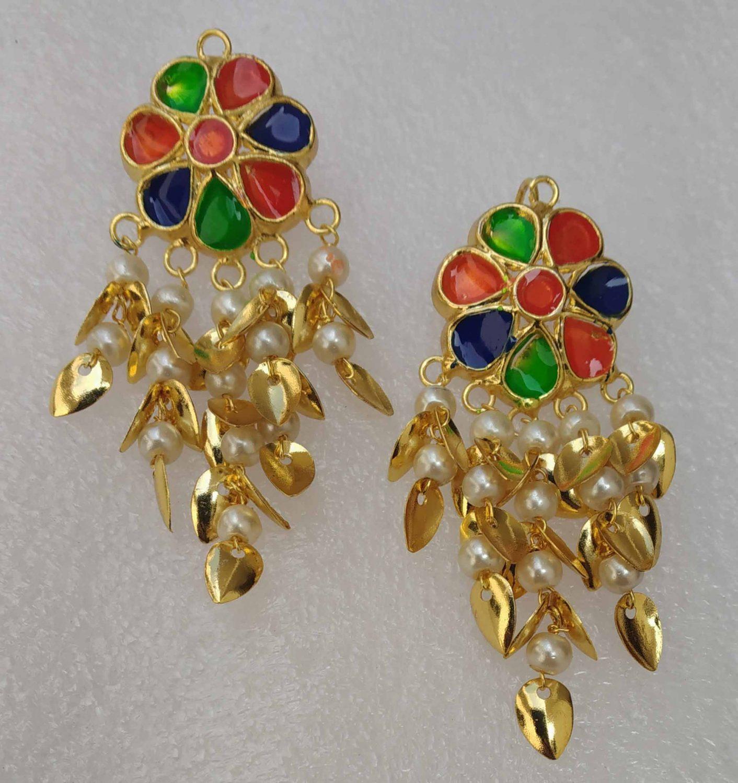 Multicolour Kundan Earrings Gold Polished Punjabi Jhumki J0493 1