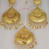 Tear Drop Shape Gold Polished Punjabi Earrings Tikka set J0496