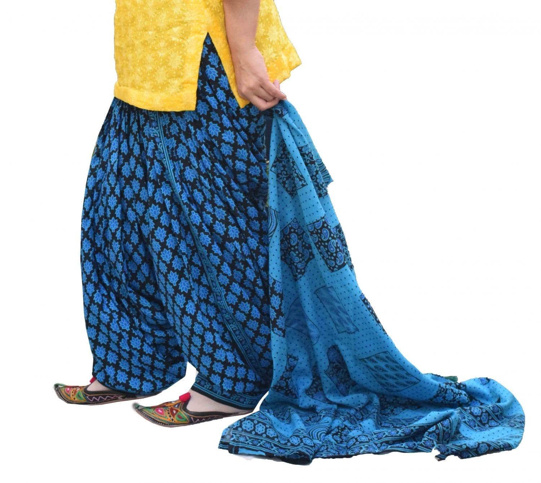 Printed Full Patiala Salwar Dupatta Set Limited Edition 100% Pure Cotton PSD261 1