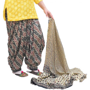 Printed Full Patiala Salwar Dupatta Set Limited Edition 100% Pure Cotton PSD266