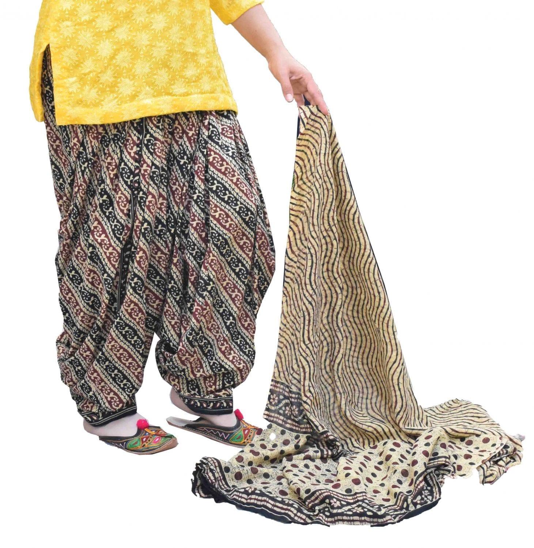 Printed Full Patiala Salwar Dupatta Set Limited Edition 100% Pure Cotton PSD266 1