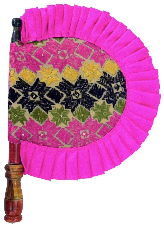Hand Embroidered Punjabi Phulkari Pakhi HandFan size 16 inch length T0238 1