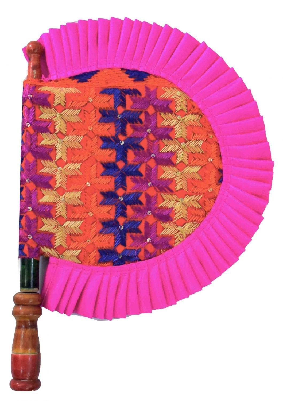 Phulkari Hand Embroidered Punjabi Pakhi HandFan size 16 inch length T0239 1