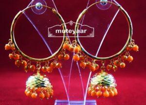 Gold Plated Punjabi Traditional Jewellery Earrings Bali set J0323