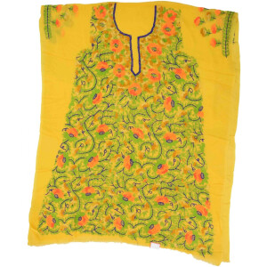 Yellow Georgette Embroidered Long Kurti K0371