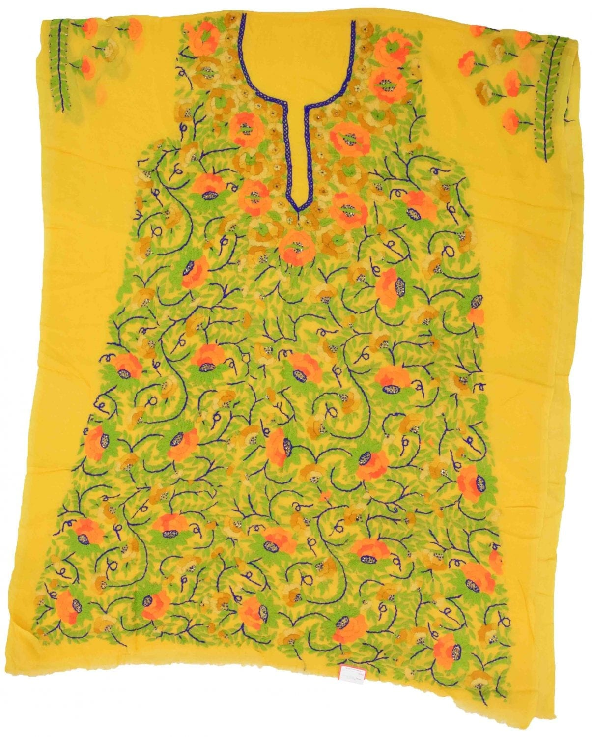 Yellow Grorgette Hand Embroidered Party Wear Unstitched LONG Kurti Fabric Piece K0371 1