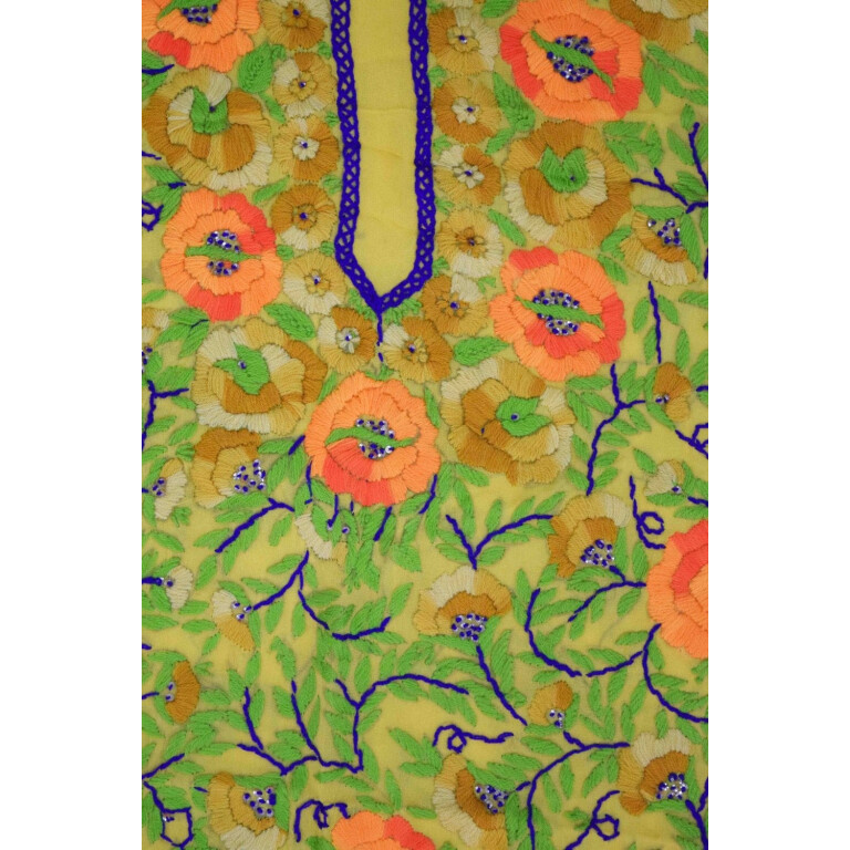 Yellow Grorgette Hand Embroidered Party Wear Unstitched LONG Kurti Fabric Piece K0371