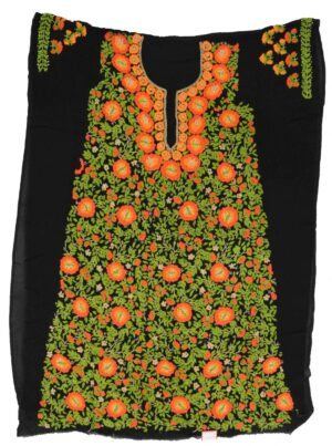 Black Georgette Long Kurti Hand Embroidered Unstitched Fabric Piece K0374