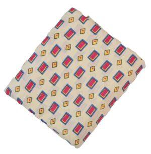 Cream base multicolour allover print Pure cotton fabric PC420