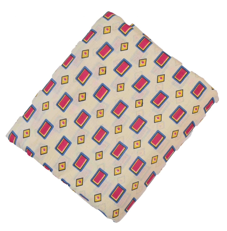 Cream base multicolour allover print Pure cotton fabric PC420 1
