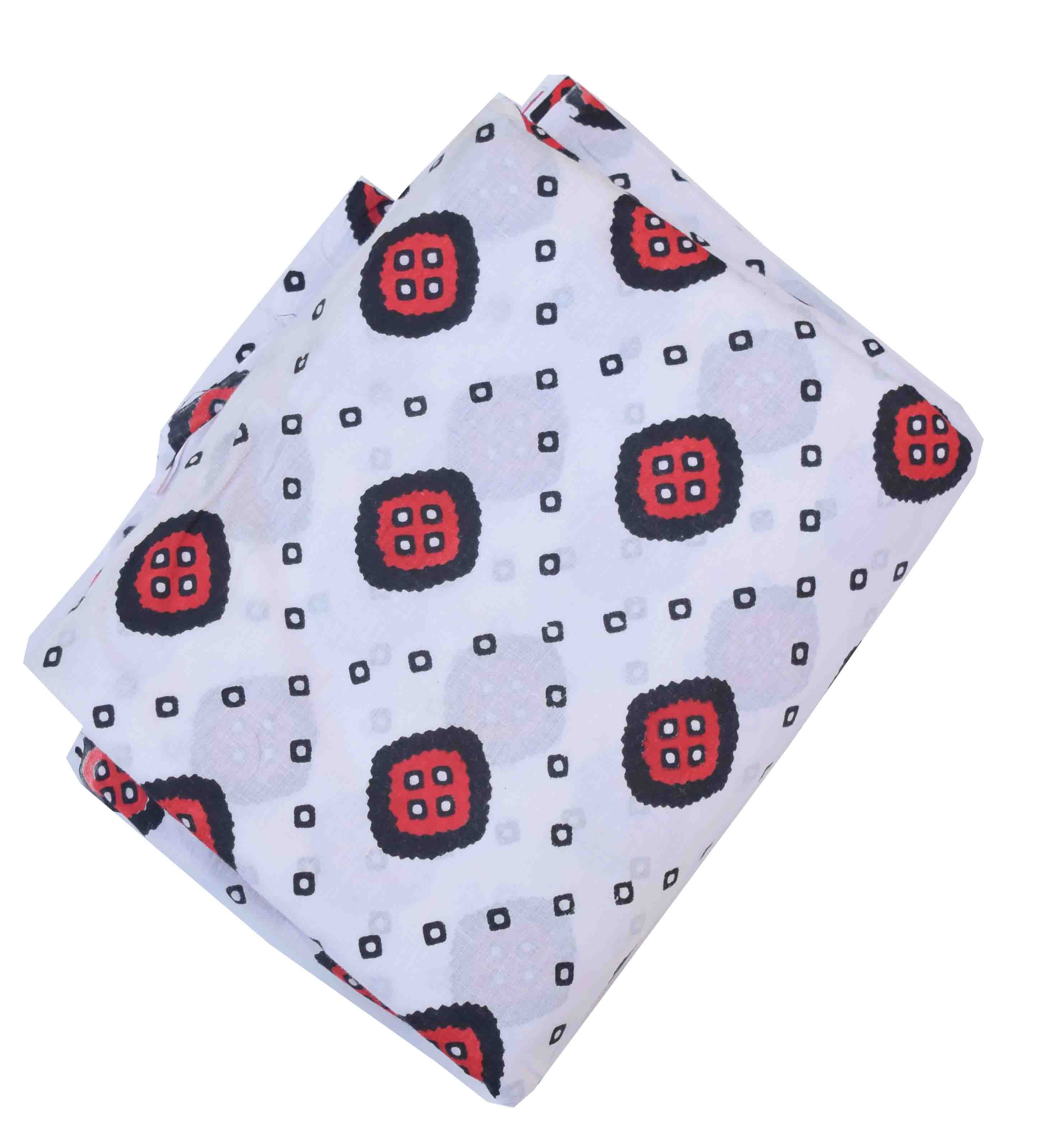 White base Red Black allover print Pure cotton fabric PC421 1