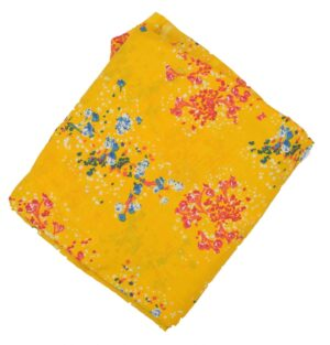 Yellow allover print Pure cotton fabric PC424