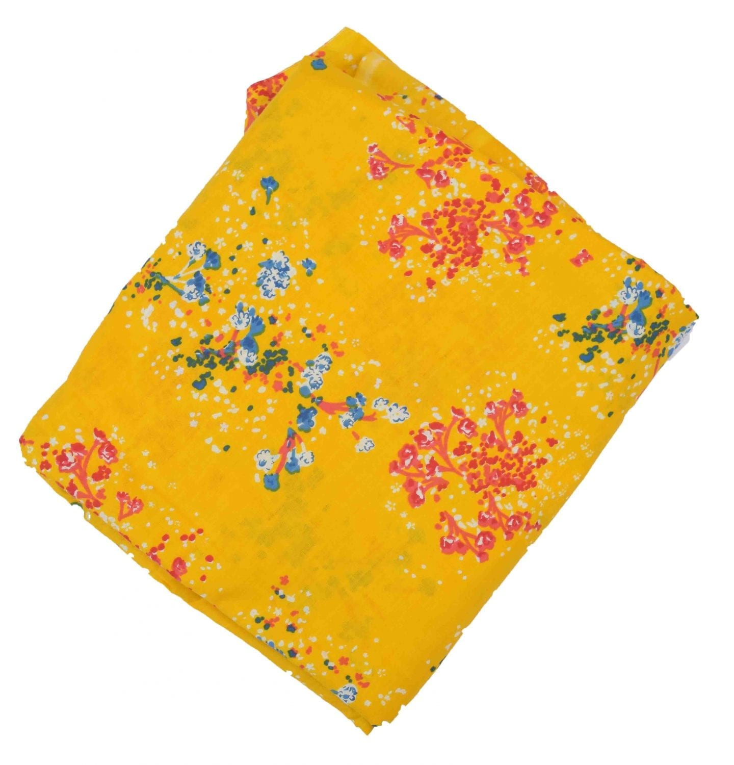 Yellow allover print Pure cotton fabric PC424 1