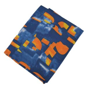 Dark Blue Orange allover print Pure cotton fabric PC427