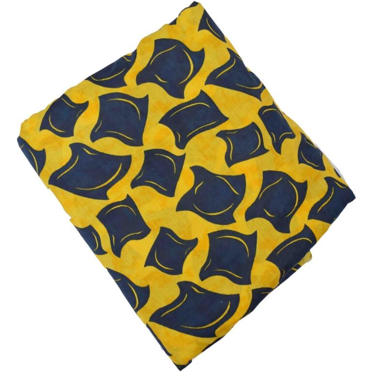 Yellow Black allover print Pure cotton fabric (per meter price) PC428