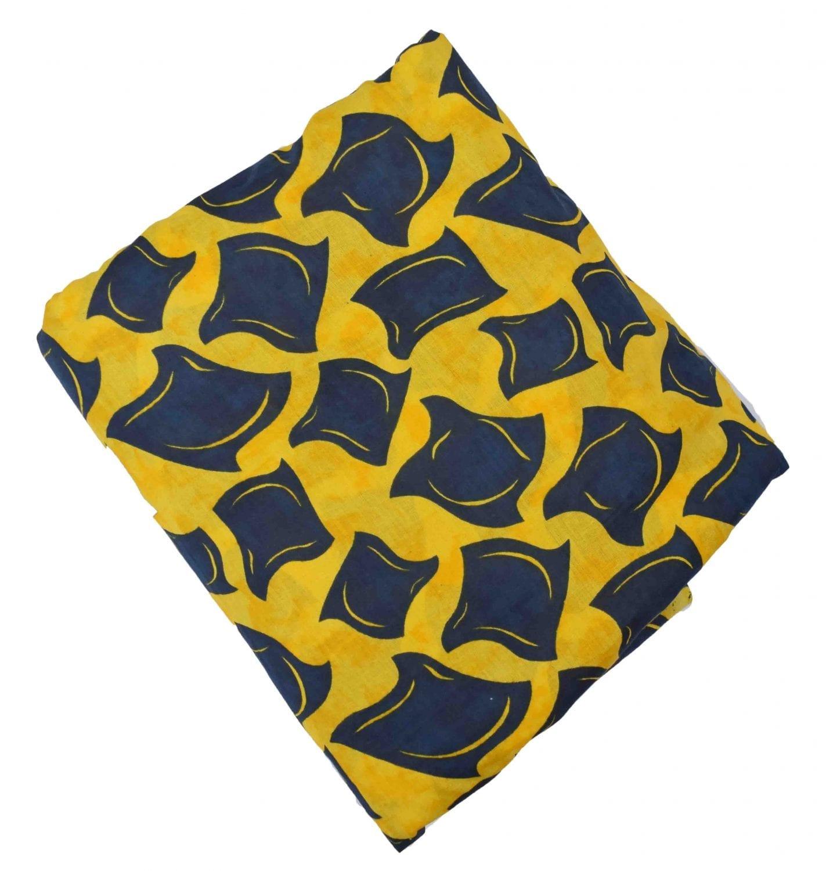 Yellow Black allover print Pure cotton fabric PC428 1
